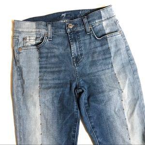 7FAMK Silver Studded Ankle Skinny Jeans